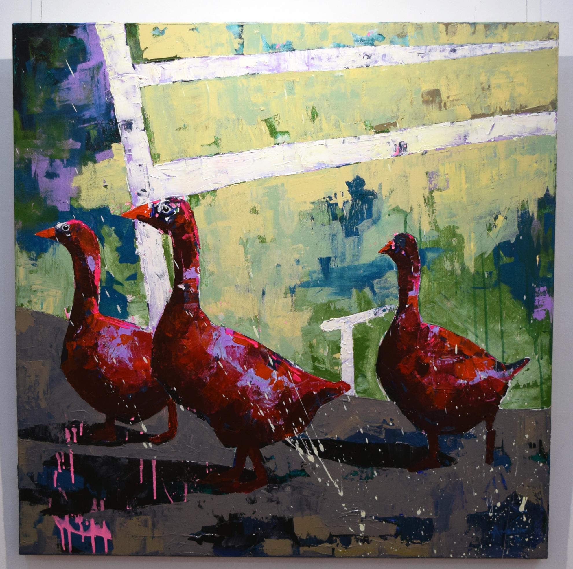 21. Amelia Sonnekus, Geese in the Farmyard, 2018, acrylic on canvas, 91 x 91 cm, $1,670
