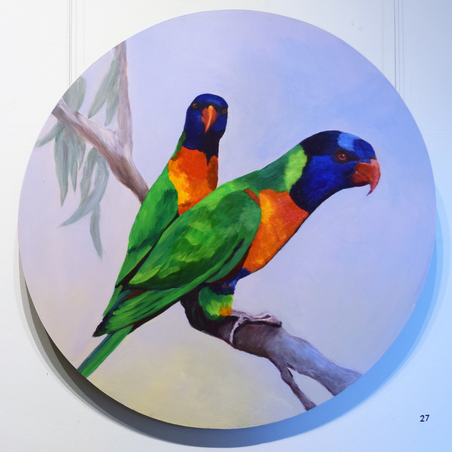 27. Joy Connell, Rainbow Lorikeets, 2017, acrylic on board, 60 x 60 cm, $1,150 (for sale by commission).jpg