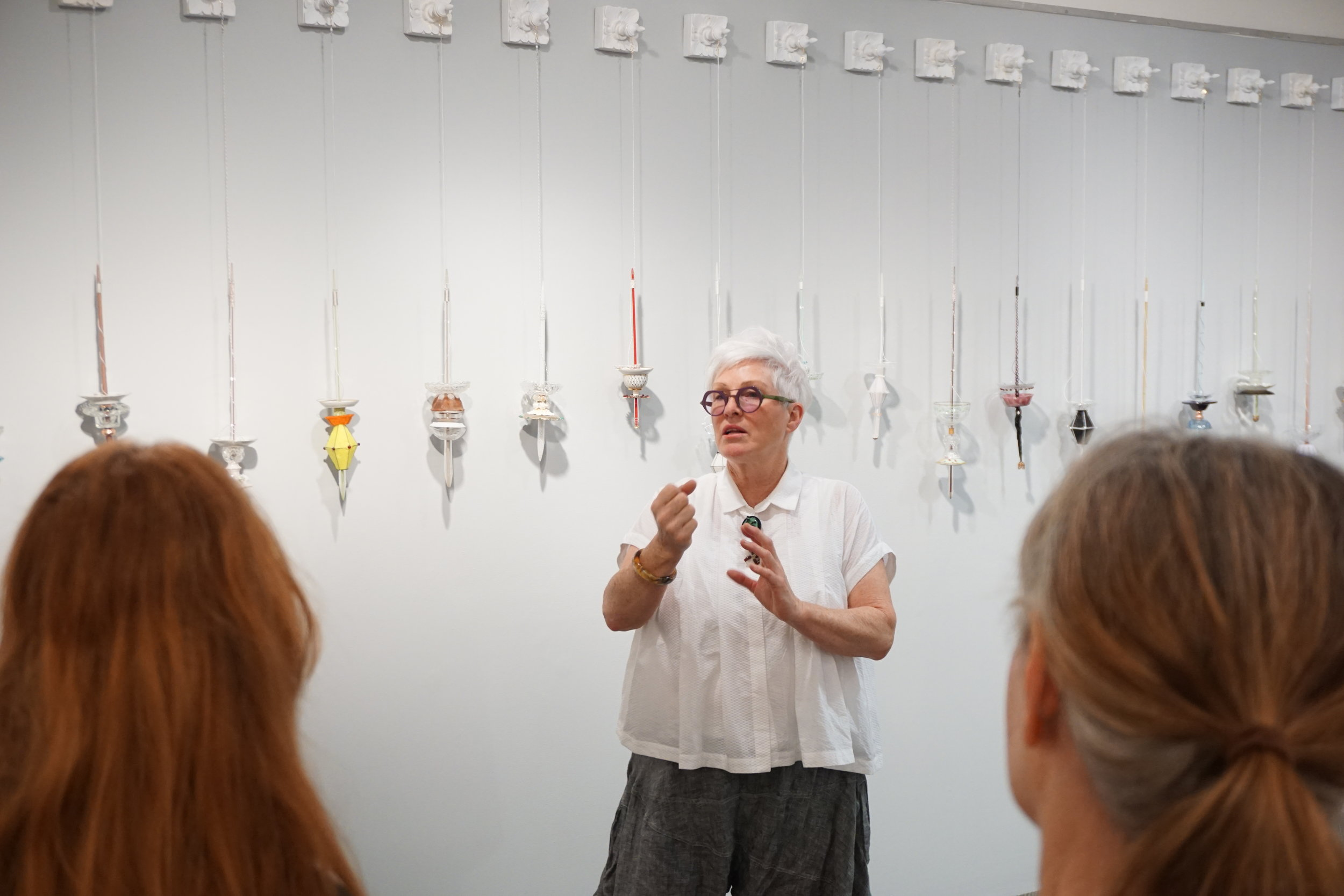 Denise Pepper discussing her series of glass works  Spinning Yarns