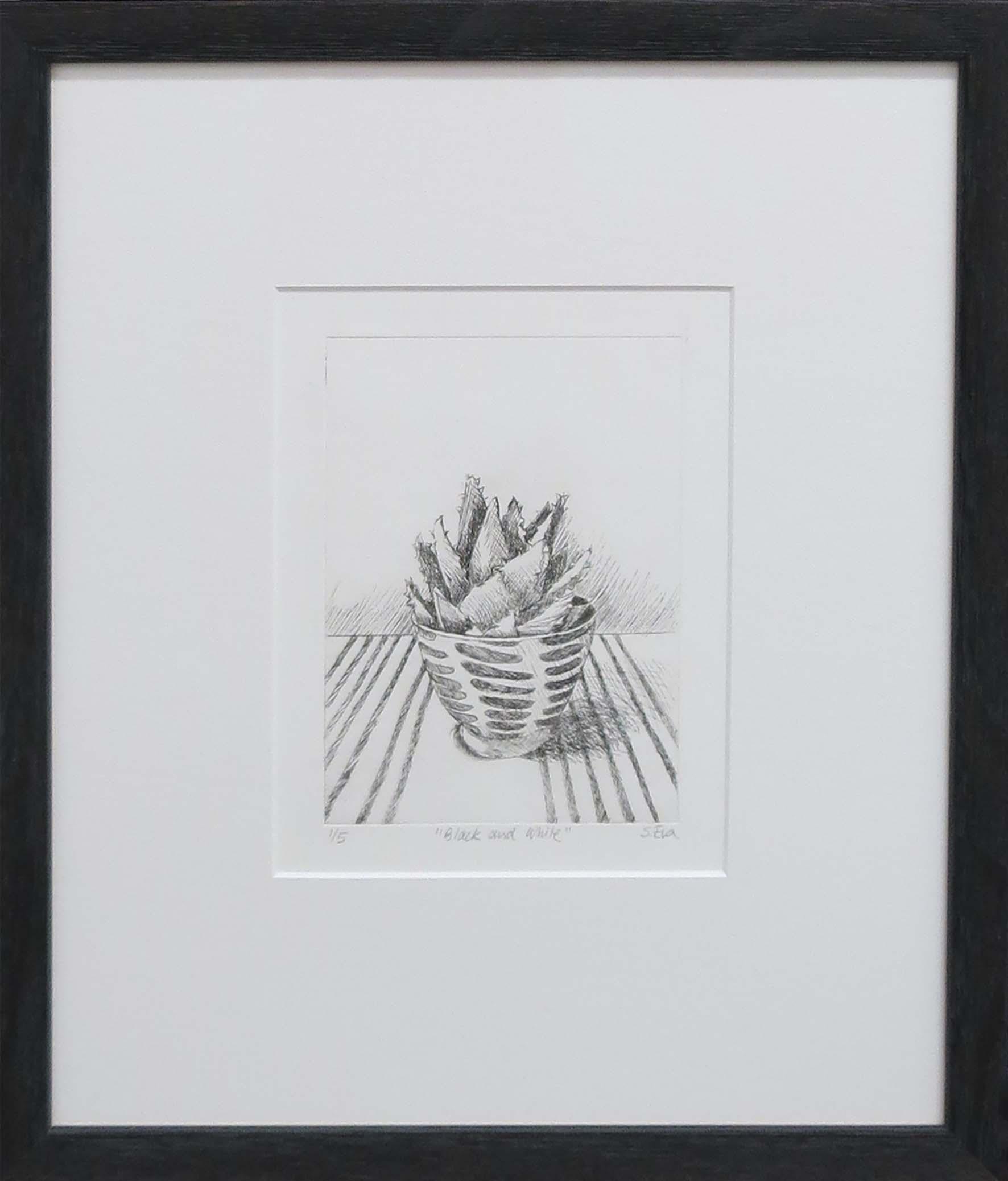 2. Sue Eva, 'Black and White', 2018, Drypoint etching, 15.5 x 11.5cm, $195