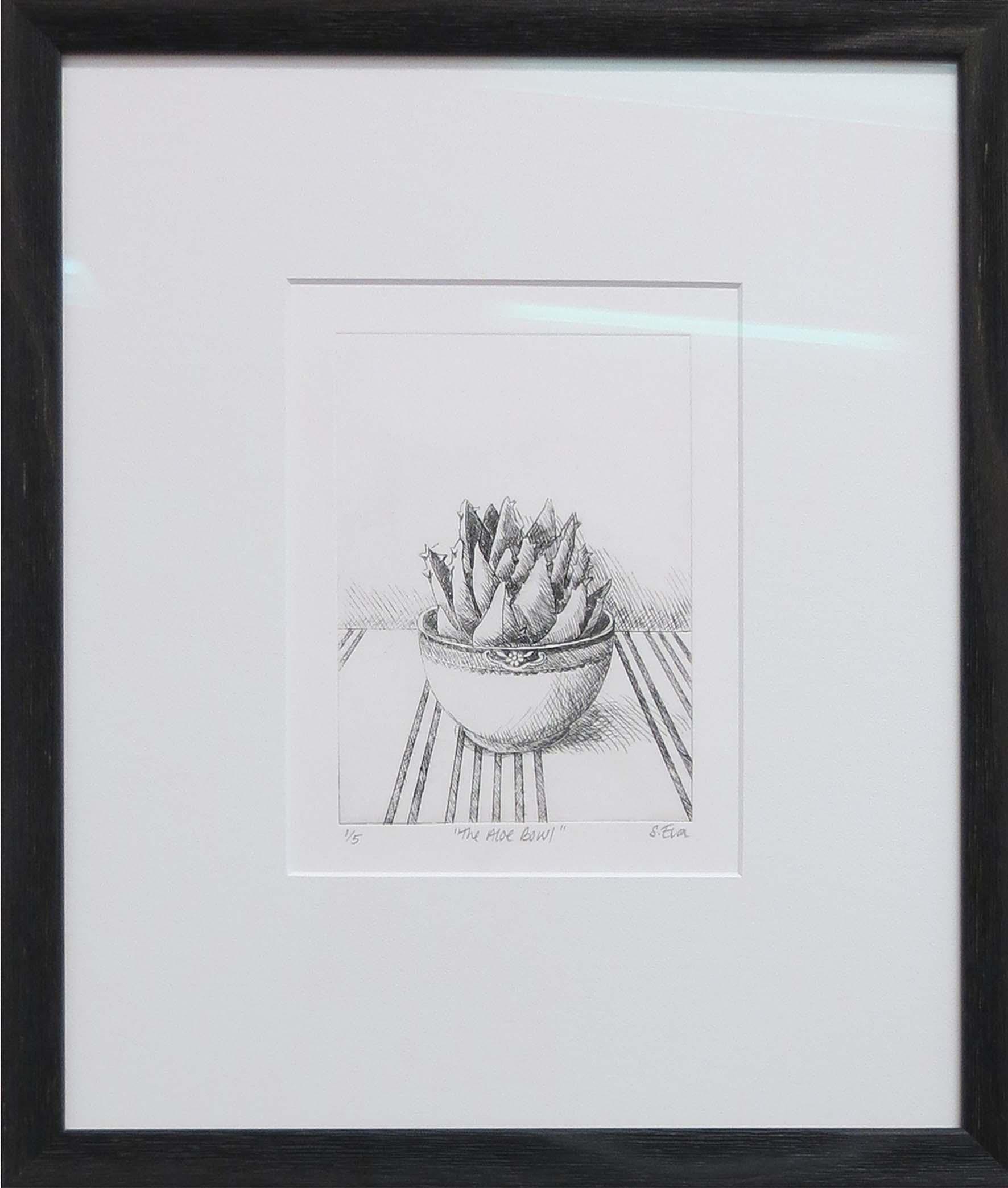 1. Sue Eva, 'The Aloe Bowl', 2018, Drypoint etching, 15.5 x 11.5cm, $195