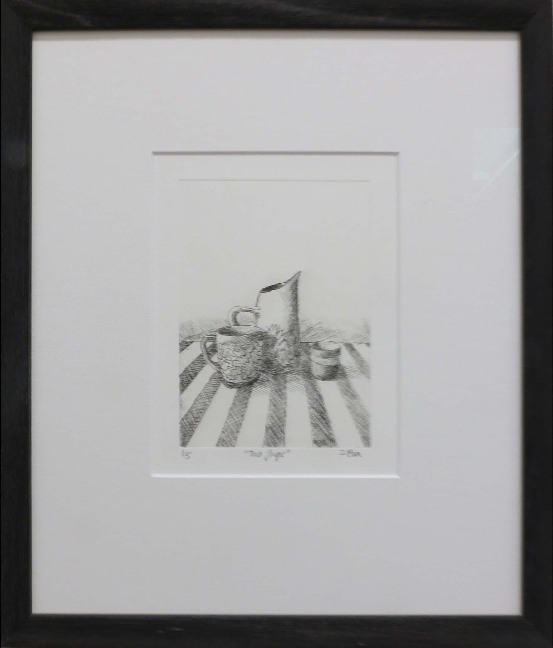 4. Sue Eva, 'Two Jugs', 2018, Drypoint etching, 15.5 x 11.5cm, $195