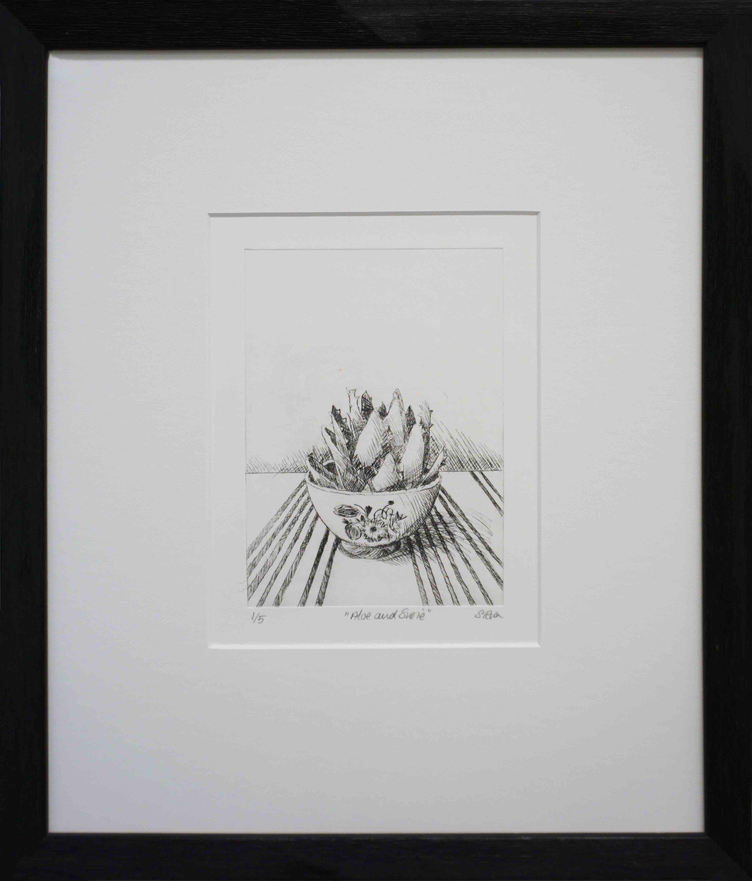 3. Sue Eva, 'Aloe and Susie', 2018, Drypoint etching, 15.5 x 11.5cm, $195