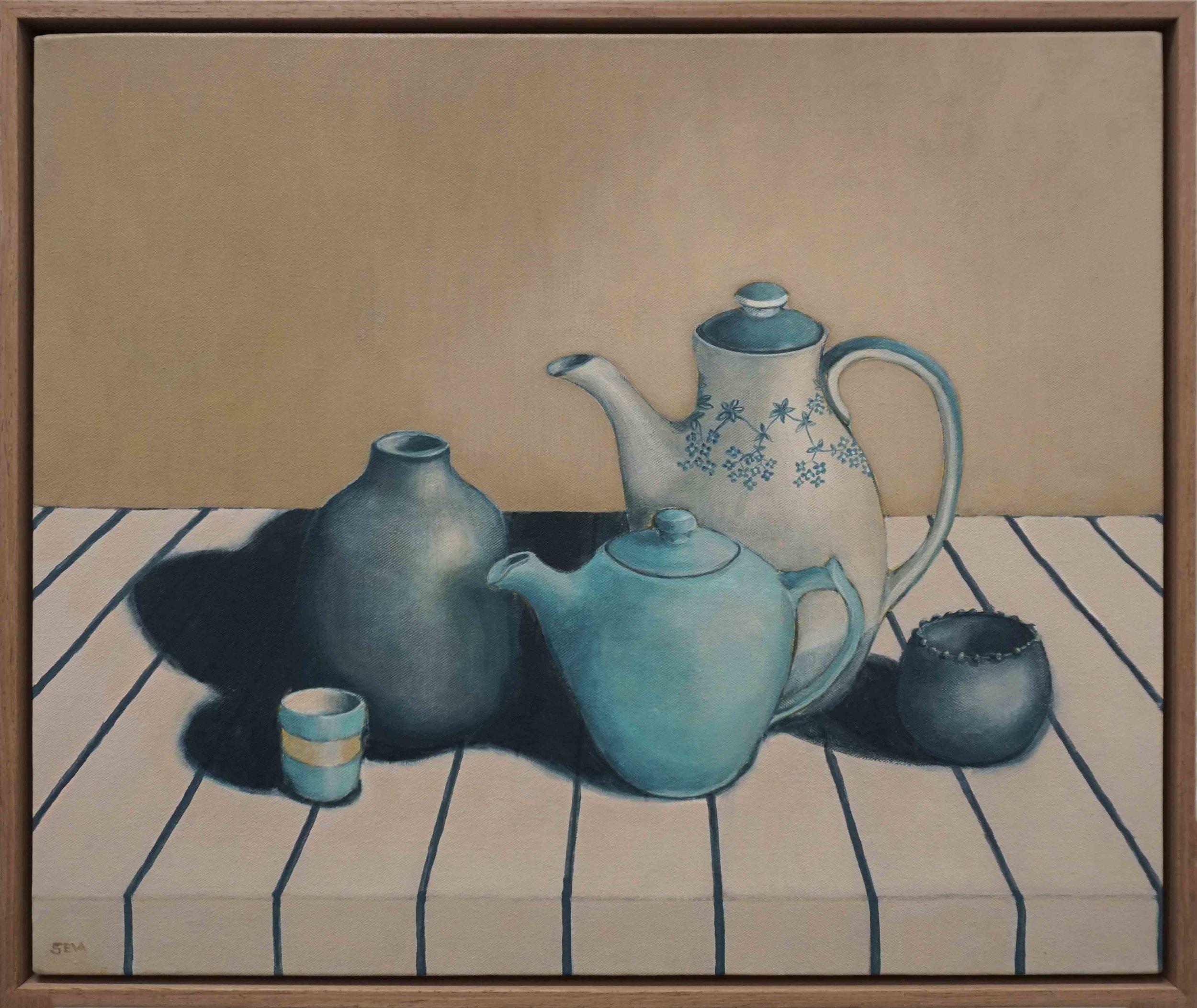 5. Sue Eva, 'Tea with Molly', 2018, Acrylic on canvas, 50 x 62cm, $795