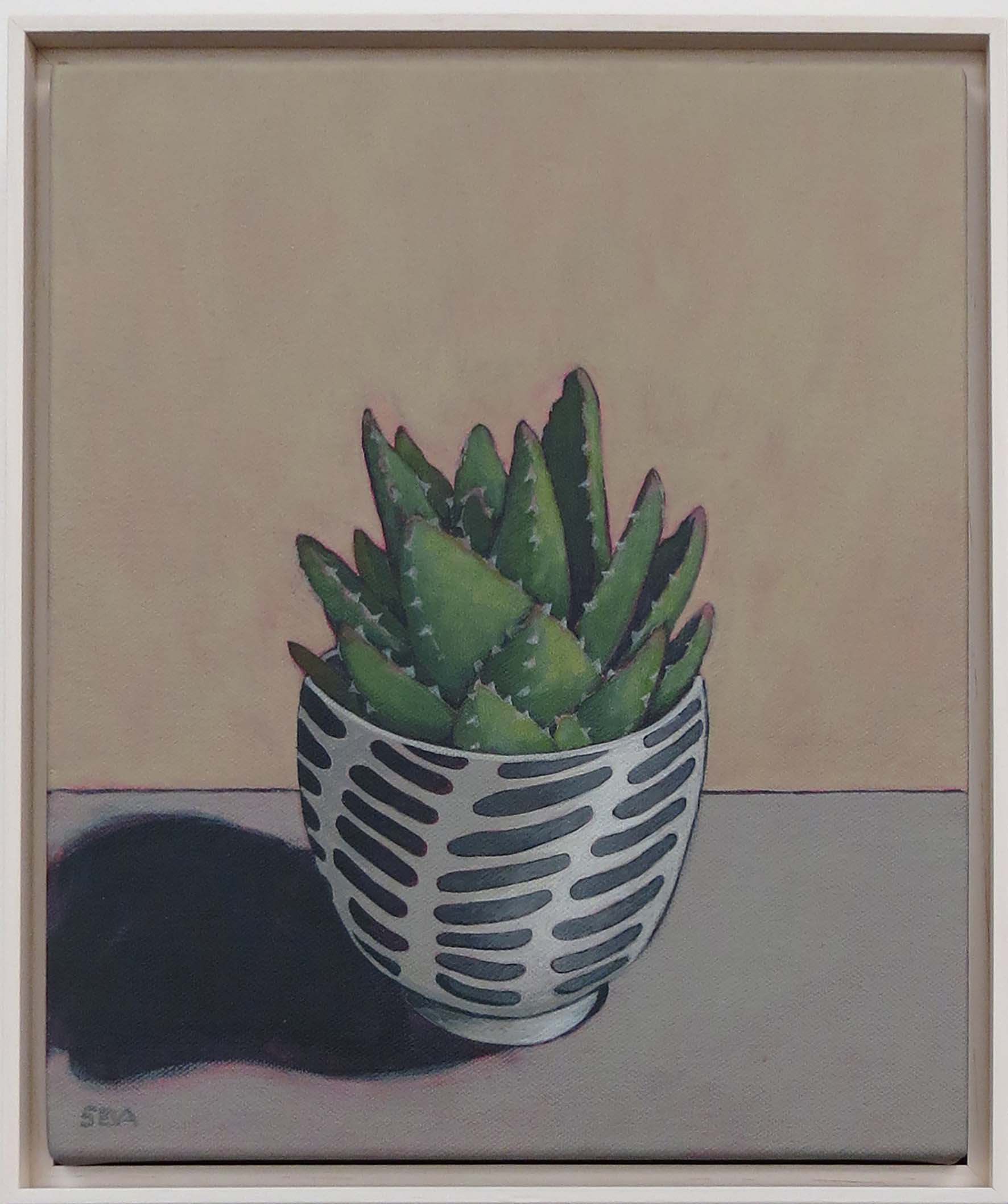6. Sue Eva, 'Black, White, Aloe', 2018, Acrylic on canvas, 30 x 25cm, $345