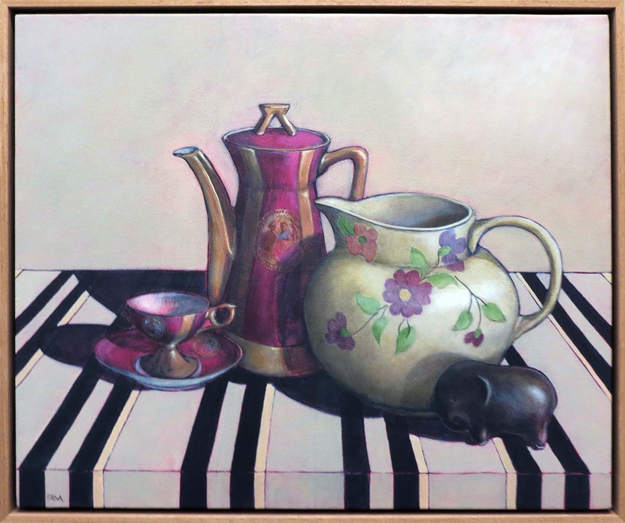 10. Sue Eva, 'Tea with Betty', 2018, Acrylic on canvas, 50 x 62cm, $795