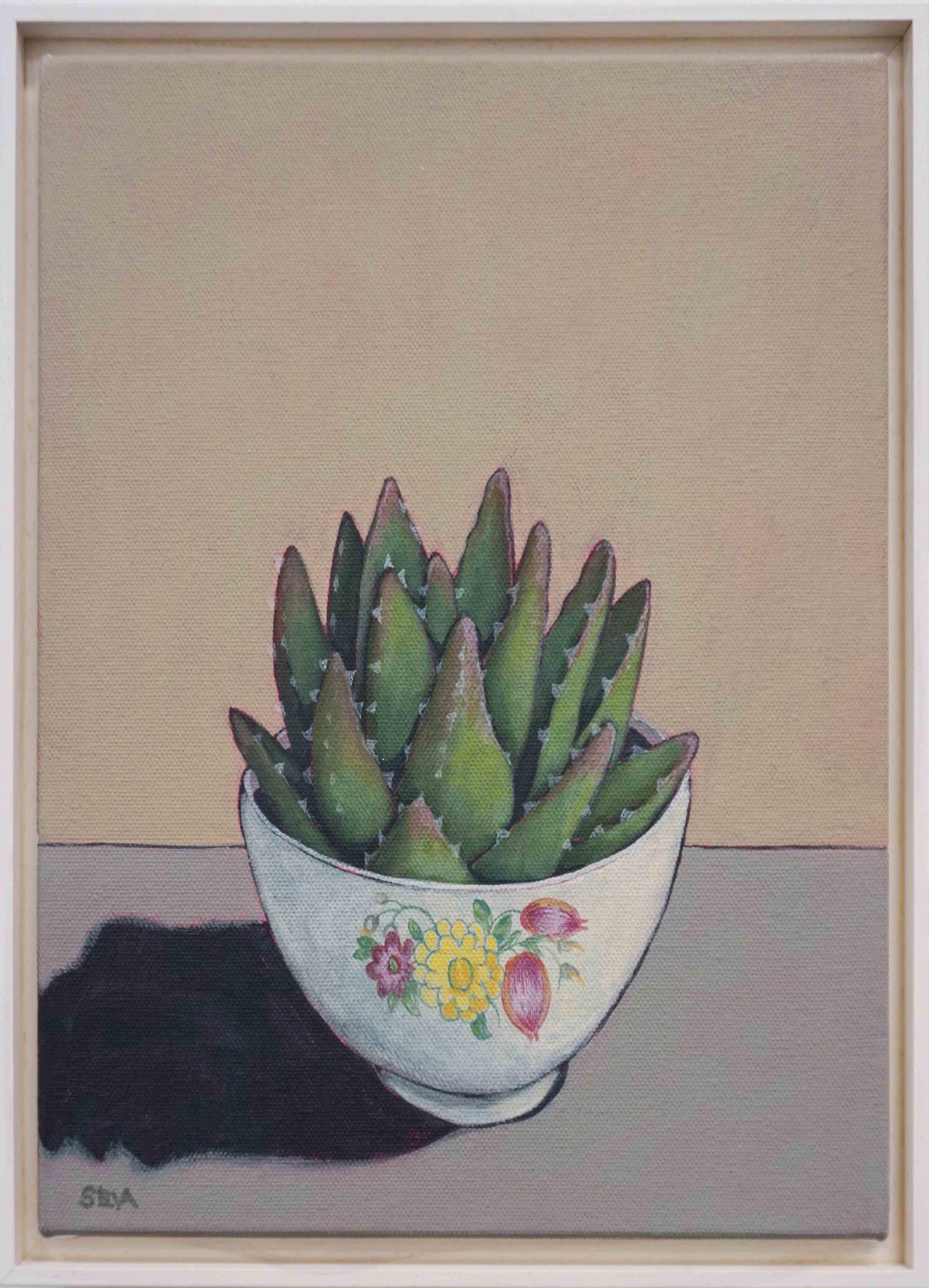 9. Sue Eva, 'Susie Cooper and Aloe', 2018, Acrylic on canvas, 30 x 25cm, $345