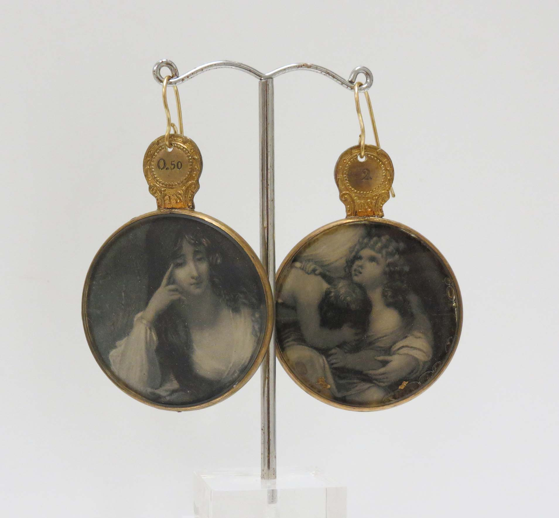 21. Kathy Aspinall, 'Optical', 2018, Victorian optometrist lens, antique paper, earrings, $250