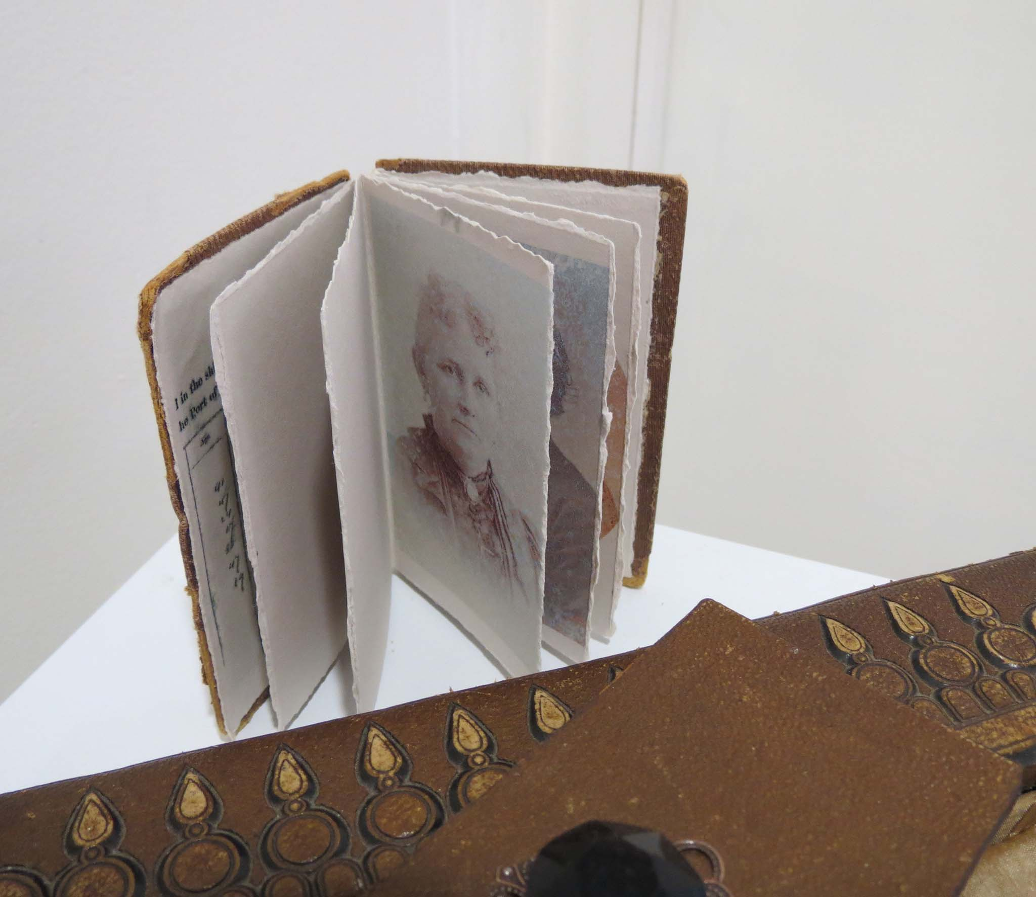 32. Kathy Aspinall, 'The Letter', 2015, Victorian photograph album, letter, small book, necklace, altered book, $1,200