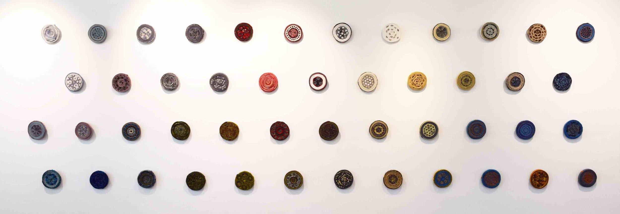2.  Remington Keys,  2018, various vintage fabrics, business ties 12 x 12 cm$165 each
