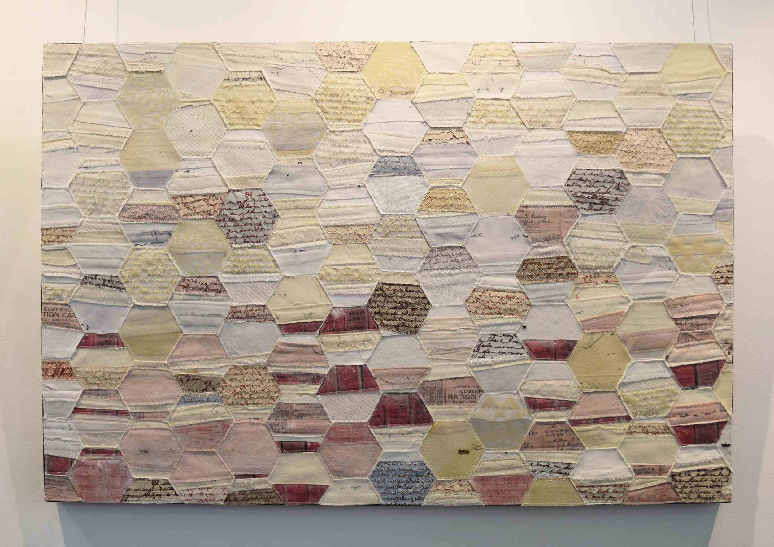4.  2000 Miles Away 2,  2018, business tie facings, hand woven silk organza, overhead projector sheeting, recycled security envelopes, 61 x 91 cm. $1,500 each
