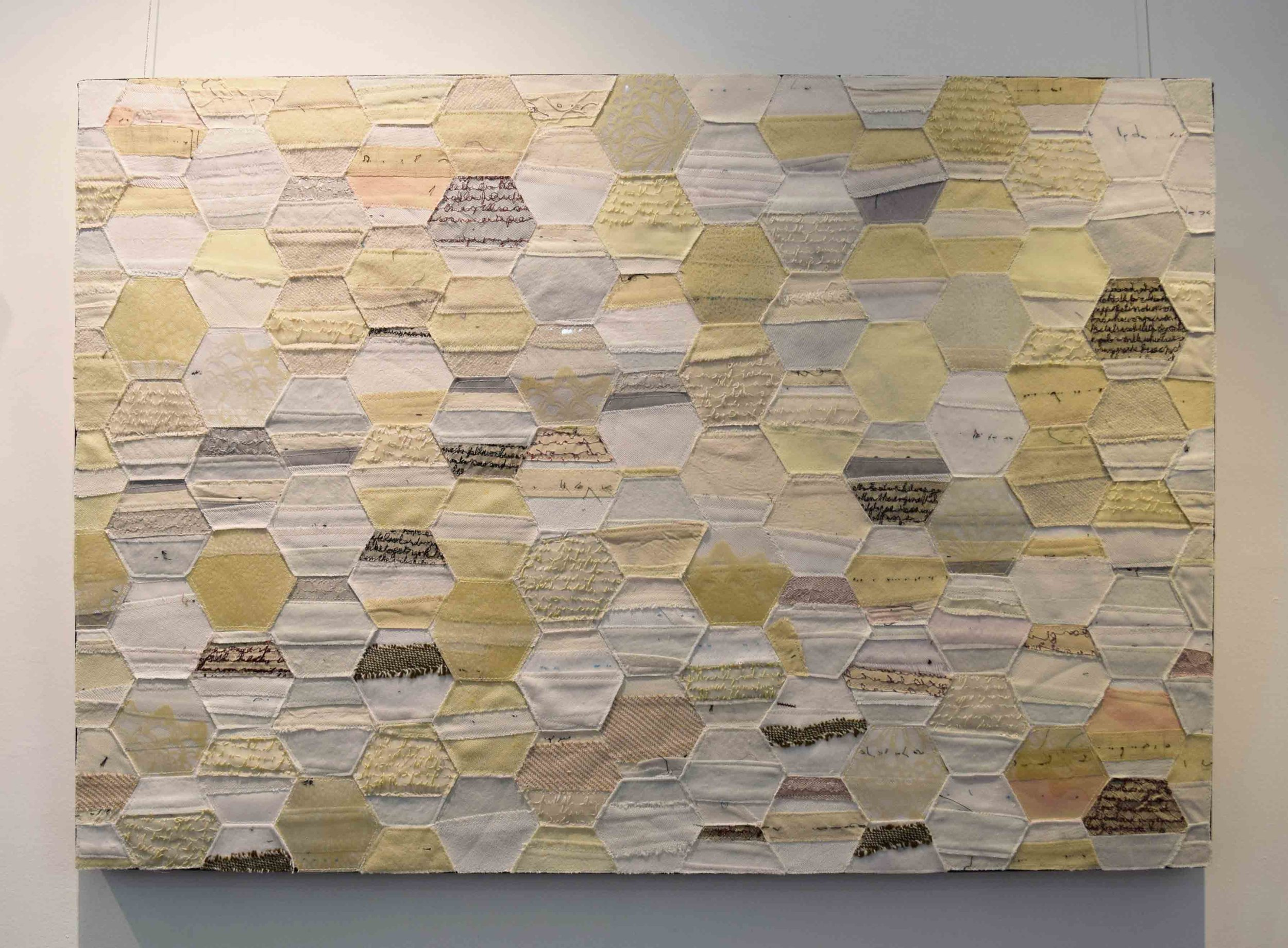 4.  2000 Miles Away 3,  2018, business tie facings, hand woven silk organza, overhead projector sheeting, recycled security envelopes, 61 x 91 cm. $1,500 each
