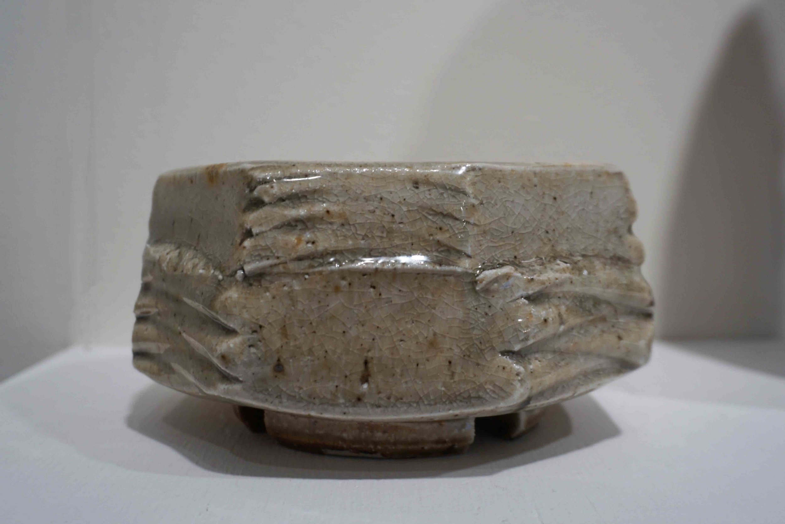 8. Greg Crowe,  Square Bowl,  2015, woodfired stoneware, 9 x 18 x 18 cm $500