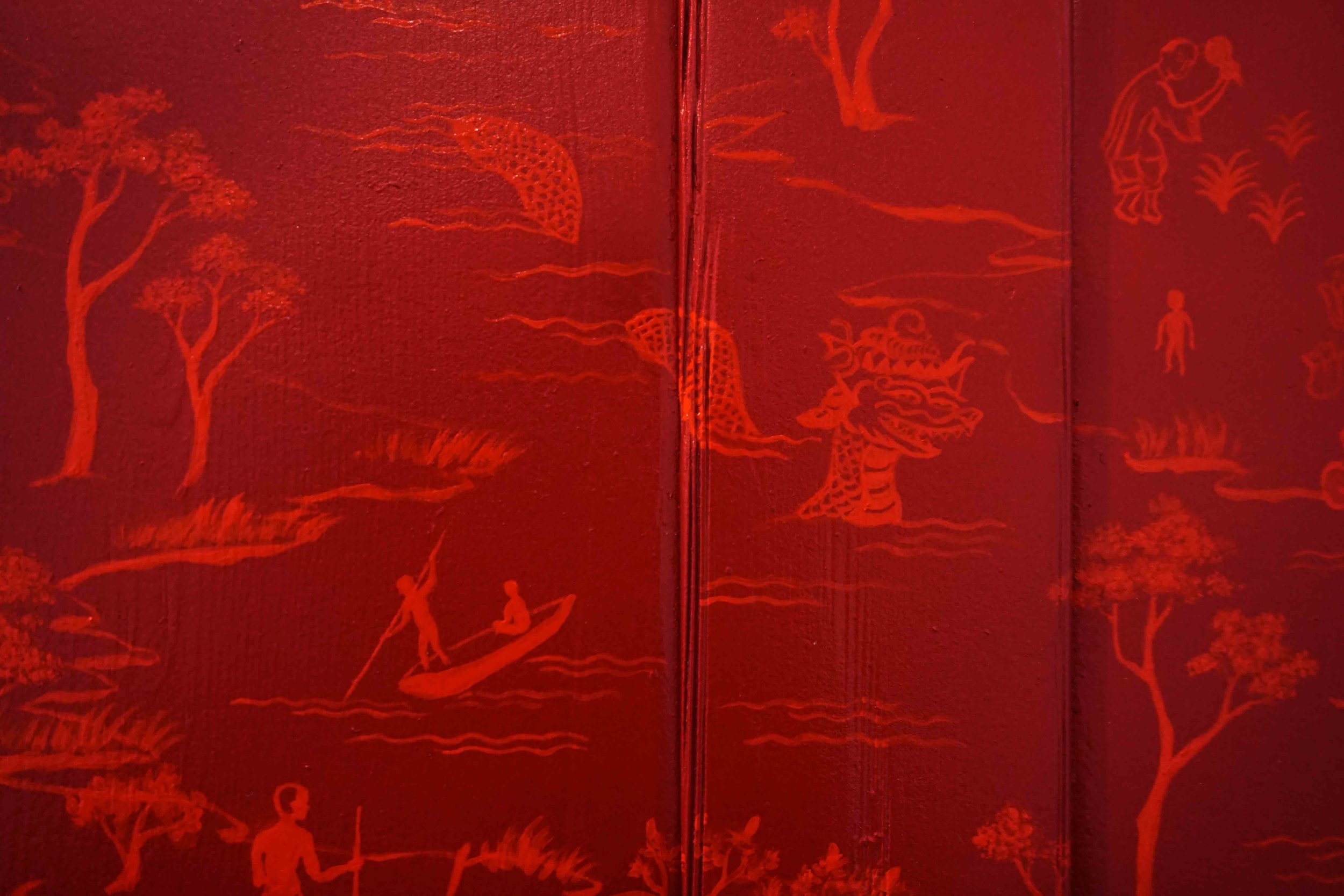 16. Yi Xiao Chen,  Creation Myths  (detail), 2019, red lacquer on Colonial style Victorian mirror, circa 1840s, 77 x 64 x 27 cm POA