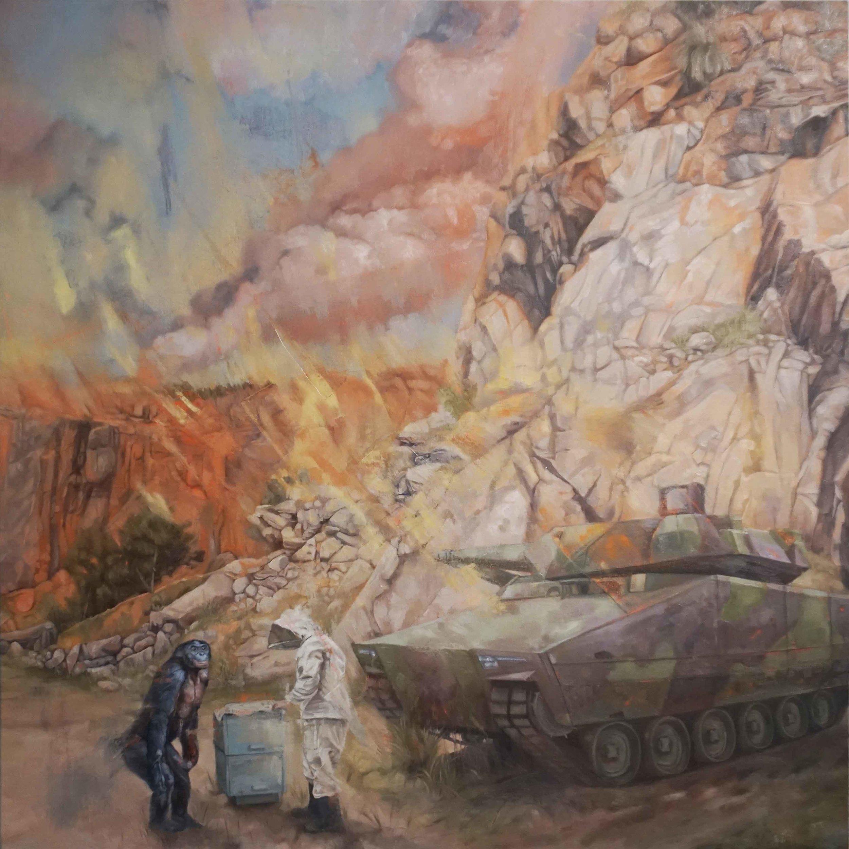 15. Jarrad Martyn,  Pit,  2019, oil on canvas, 100 x 100 cm $2,200