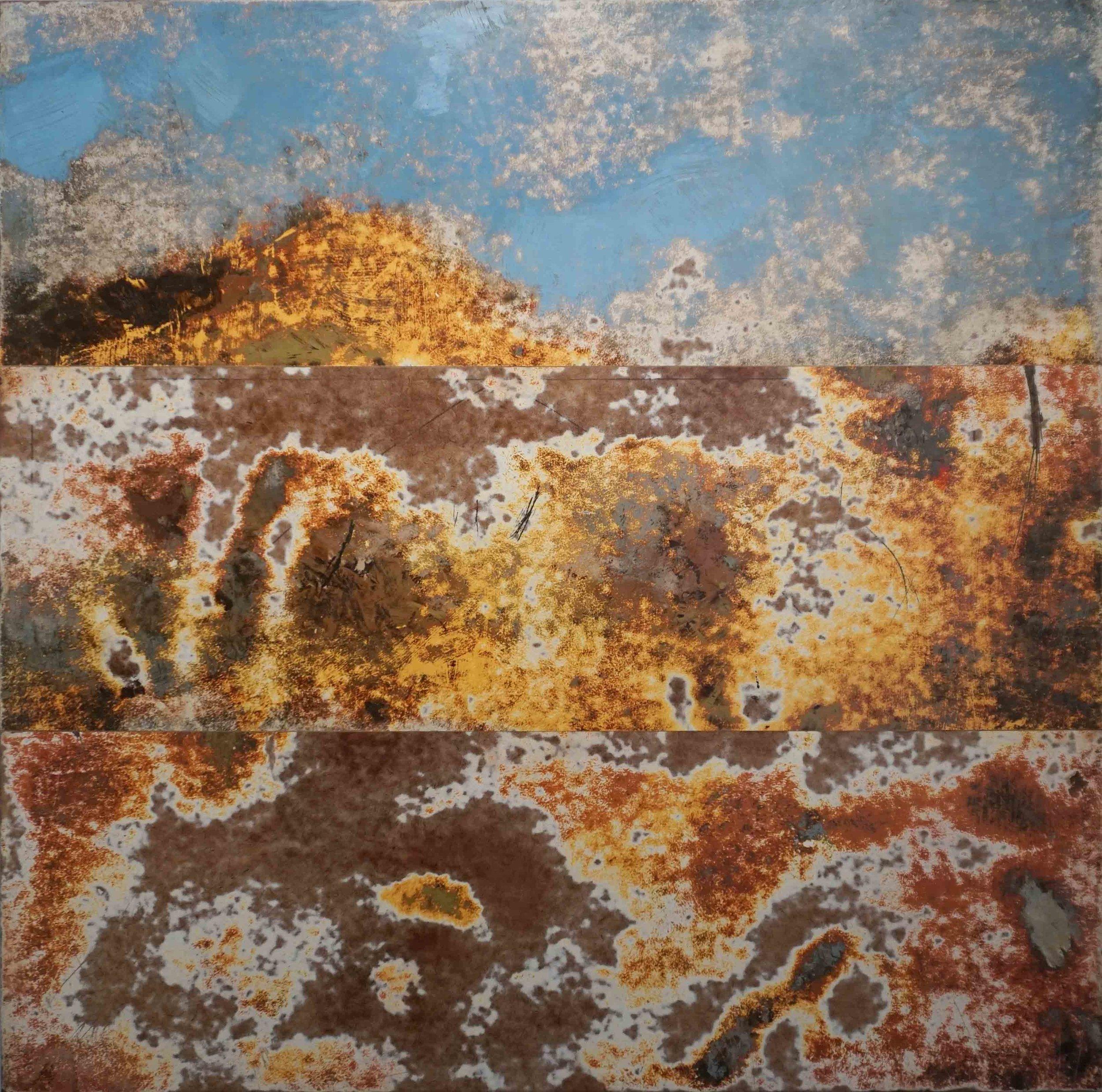 14. Merrick Belyea,  Mountain Quarry , 2019, oil on board, 100 x 100 cm. POA