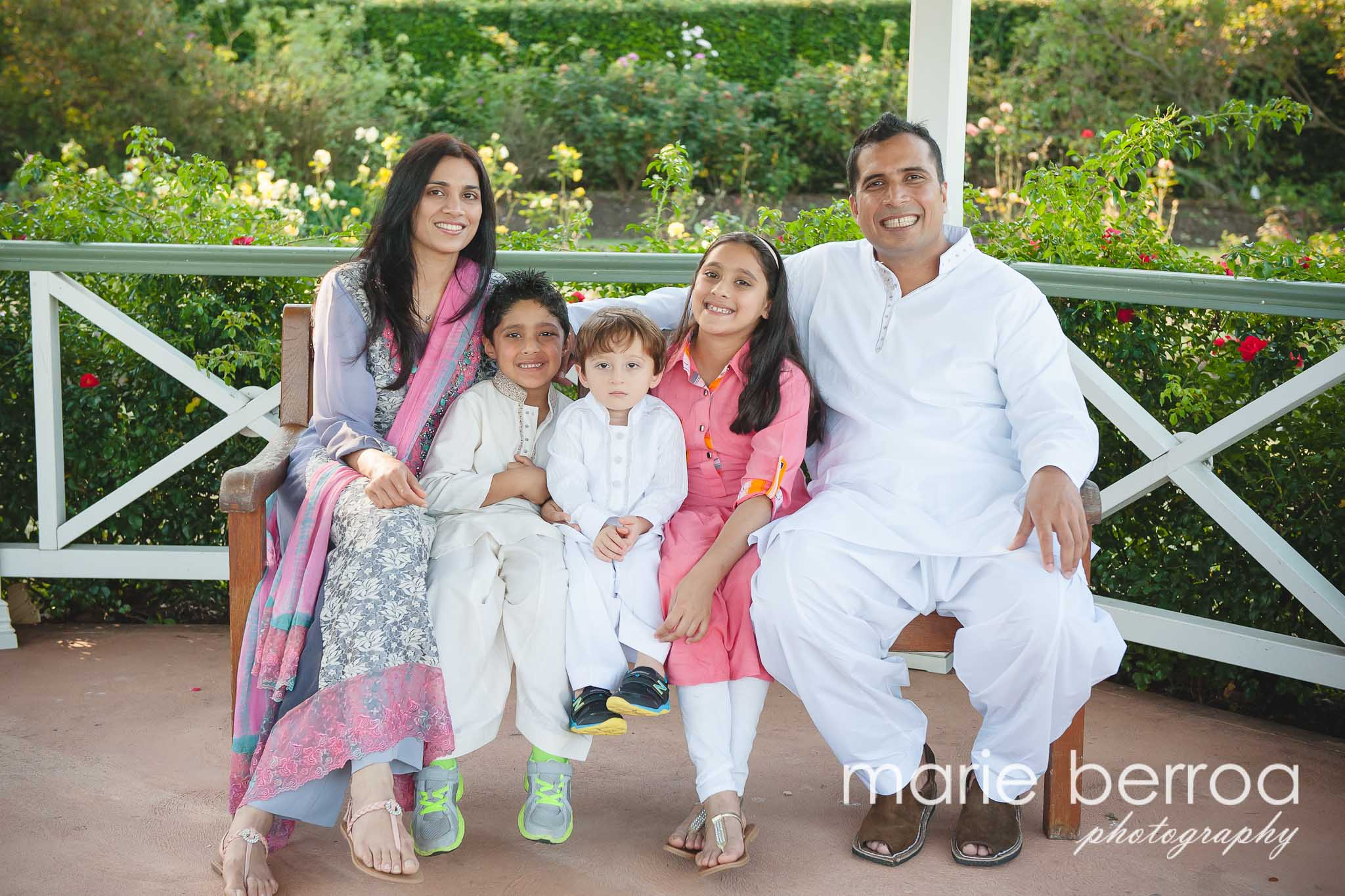 Beautiful family shot amongst lovely gardens.