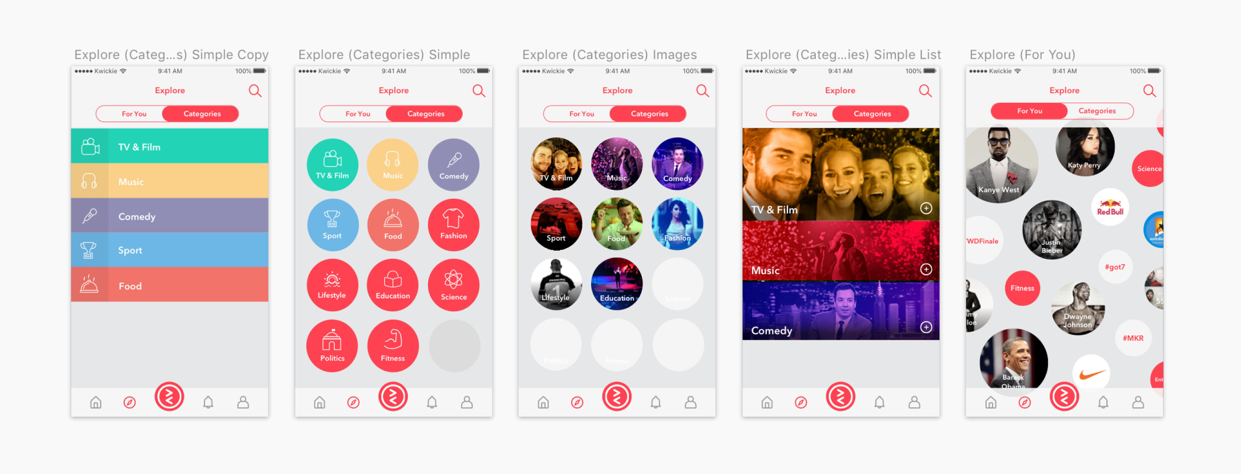 Concepts for the explore section of the app.
