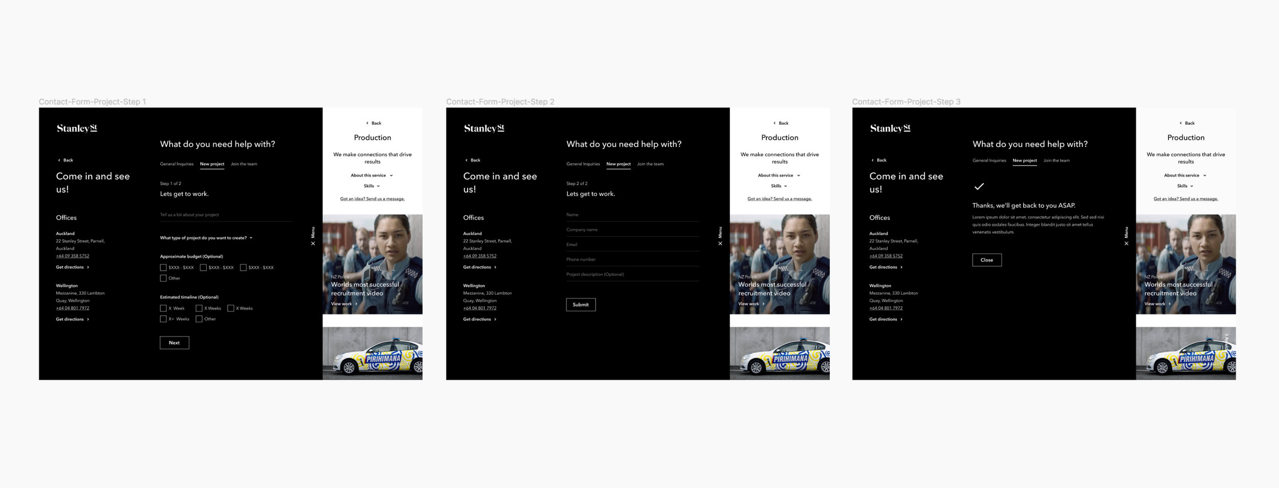 One concept that we wanted to achieve was a contextual contact form as we had identified through out discovery phase that there were significant gaps in the way that other agencies were enabling customers to a contact them.