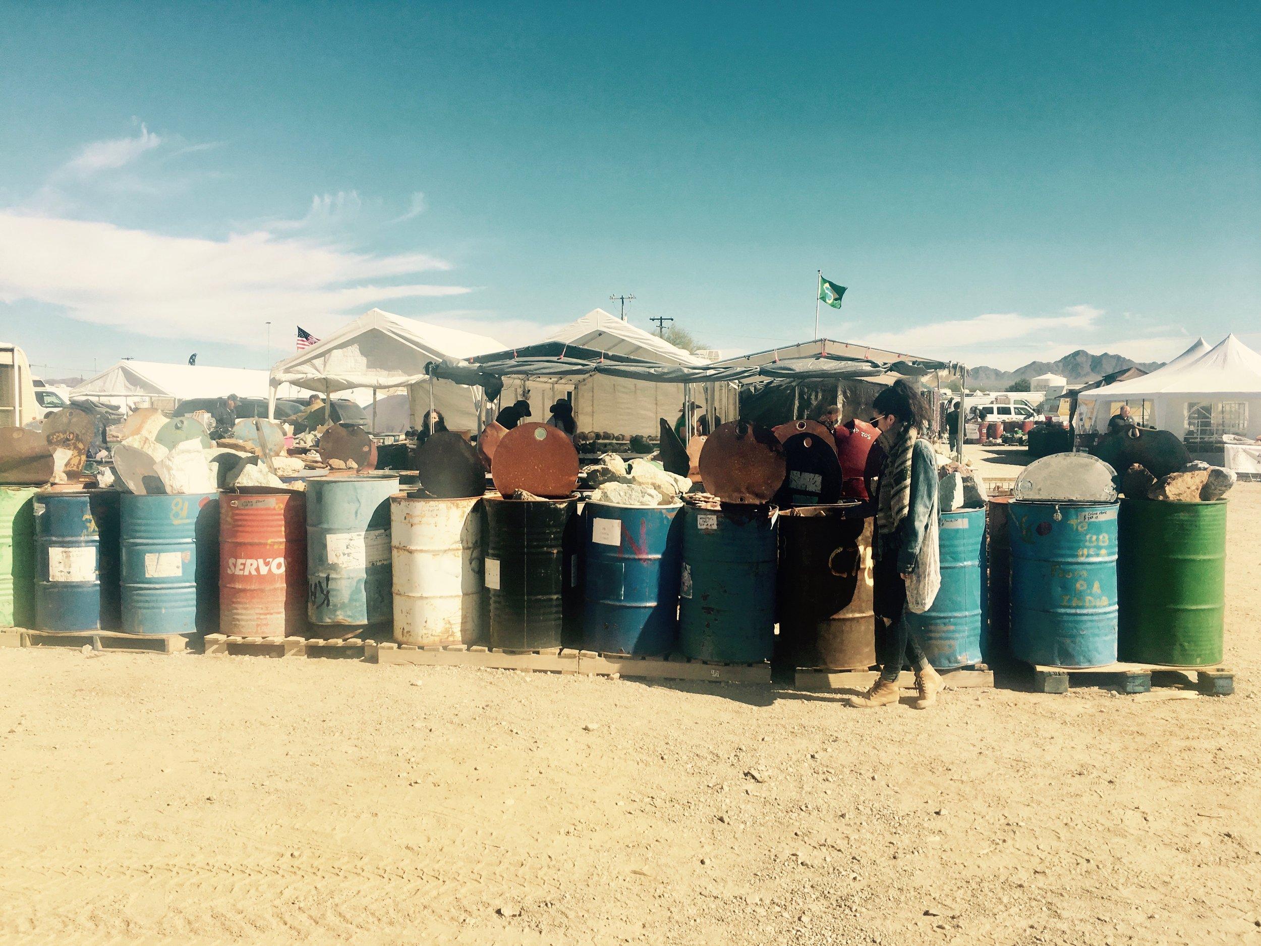 buckets of gems | Quartzsite, AZ