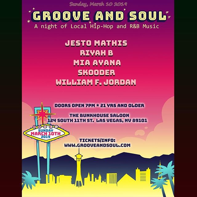 Jesto Mathis is on the March 10 lineup for Groove and Soul at the Bunkhouse Saloon in Las Vegas.  MARCH 10: http://www.grooveandsoul.com . $15 Early Bird tickets available now. Save $5. . . . #grooveandsoul#lasvegashiphop#lasvegasmusic#lasvegasmusicscene . . . .#rapper #hiphop #music #unlv#lasvegas#rnb #neosoul #vegas