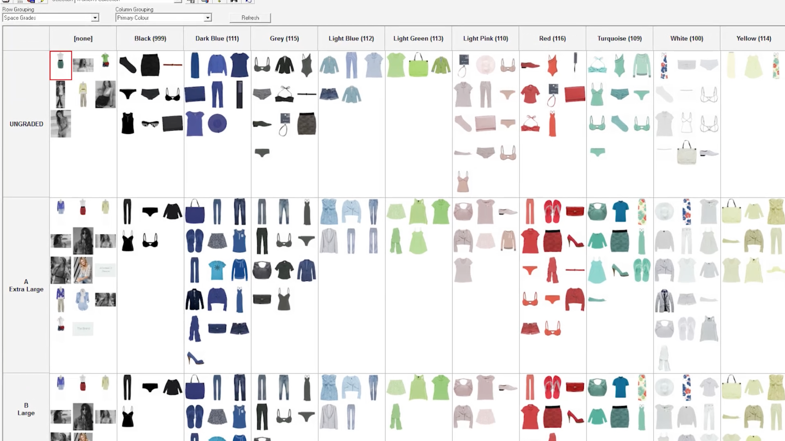Having a visual overview of your range allows you to sort and balance a collection in the most effective way possible - with almost unlimited possibilities of sorting by various criteria