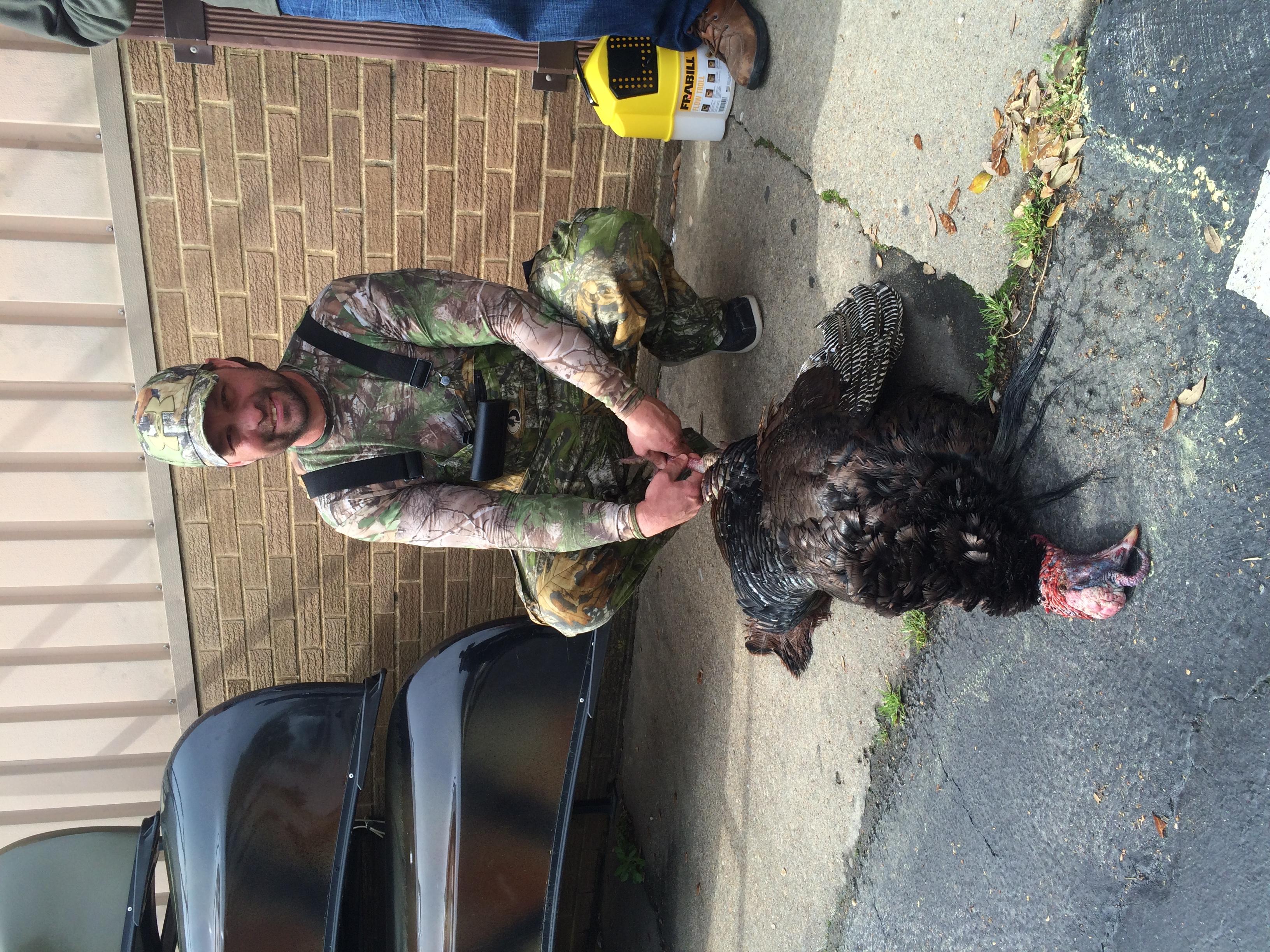 John Holston got this triple bearded turkey in Surry, VAon opening day of turkey season 2015!