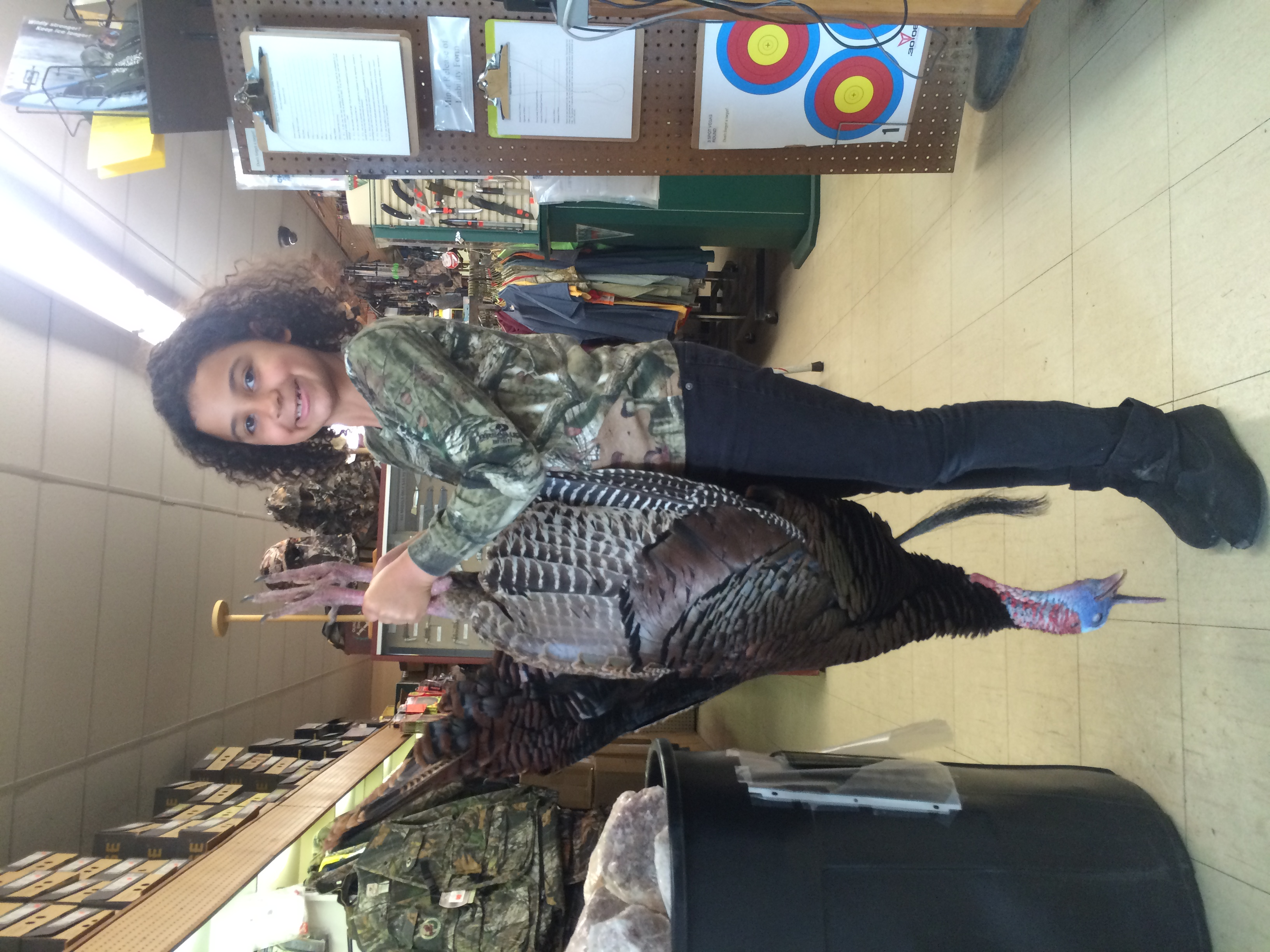 """Alivia Ulsh with her 17lb, 9 3/4"""" beard turkey harvested in Suffolk"""
