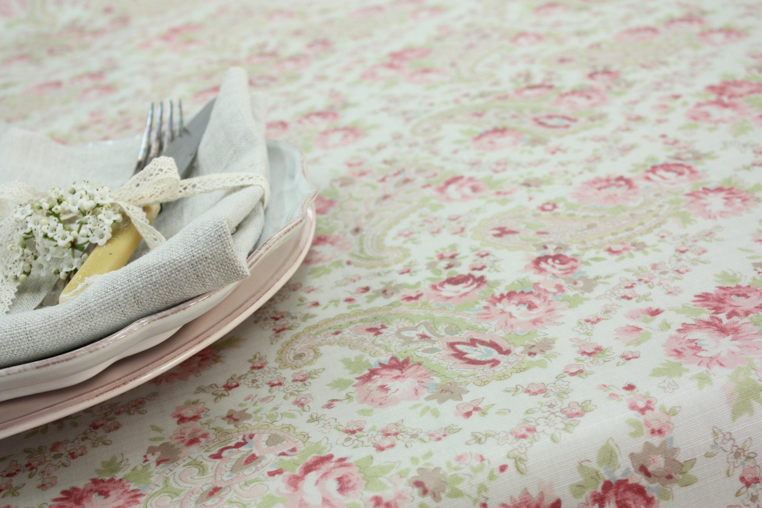 Sarah Hardaker Vintage Paisley Oil Cloth Rhubarb.JPG
