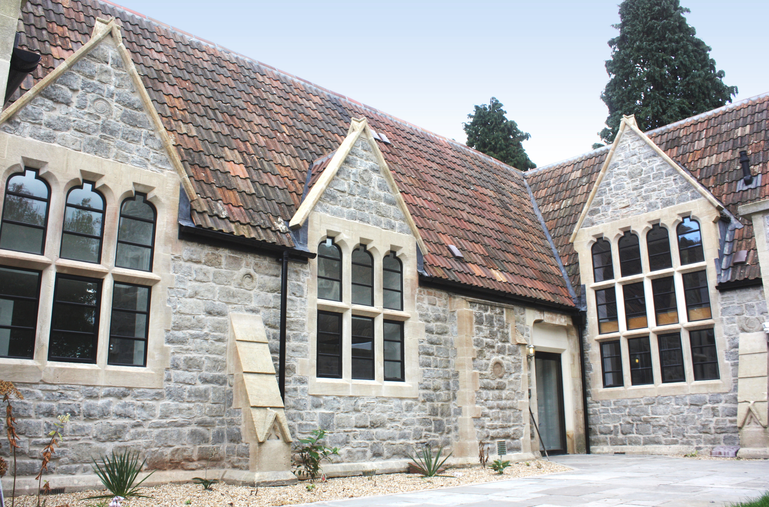 Completed exterior of the award-winning Bath Hill School development
