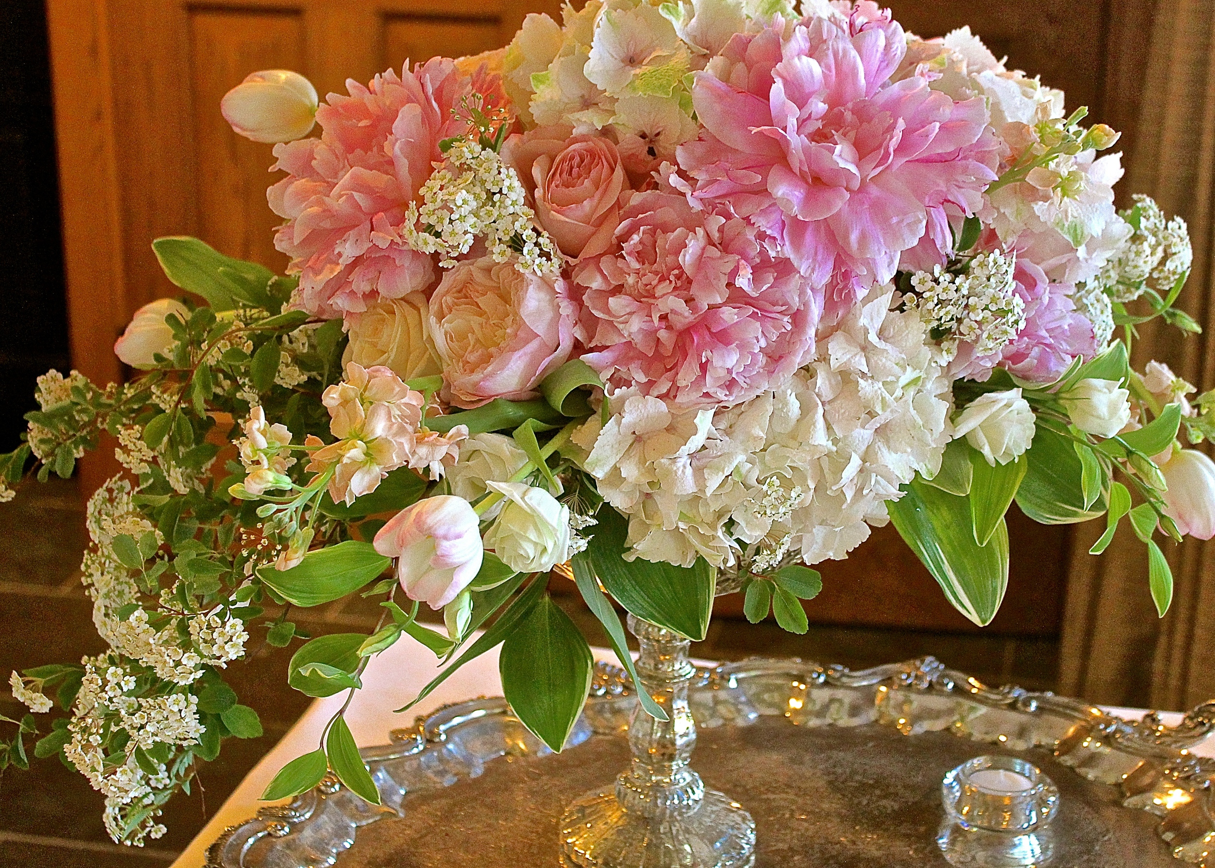 Spring Blooms - Pink Peonies, Antique Green Hydrangea, Peach Stock, Pink  Tulips,  Spirea