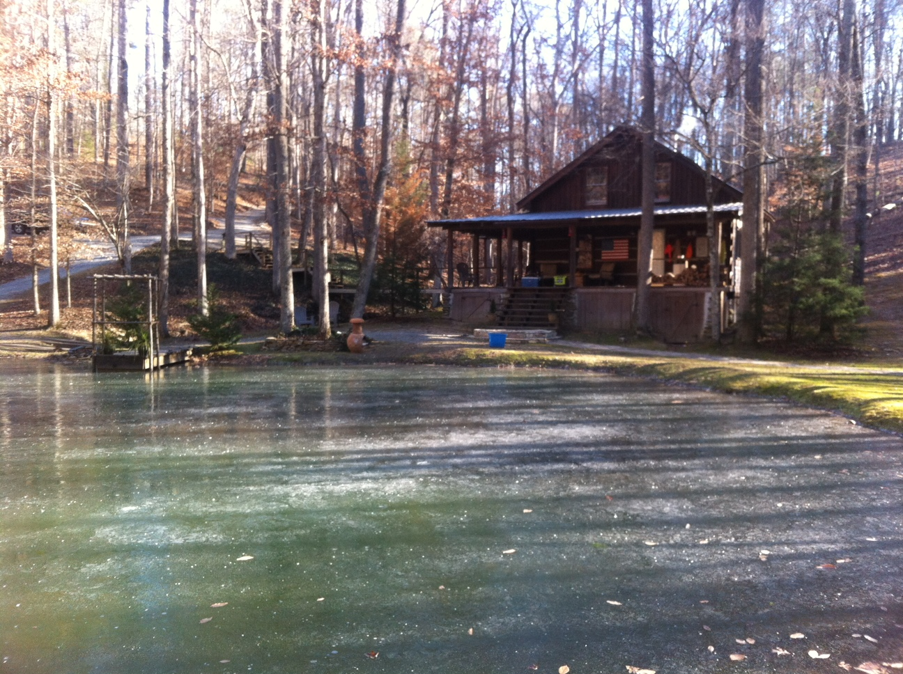 With water flowing in and out of our pond (technically a lake), we weren't sure it would freeze over.