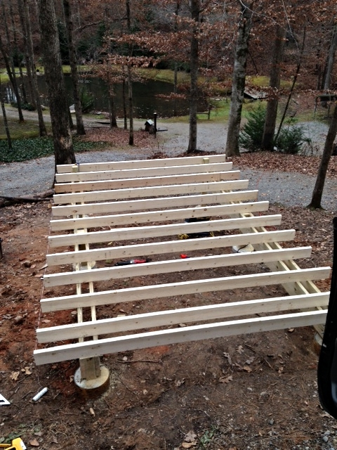 I need to run a band up each side to tie it all together, but I didn't have my rack on my truck when I went to the hardware store this morning. Carrying 16-footers with a 6-foot bed doesn't work, according to the laws of physics. I'll pick them up tomorrow.