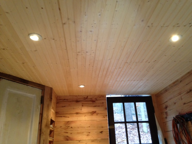 This is the ceiling below the loft. I installed three recessed lights that are on a dimmer.