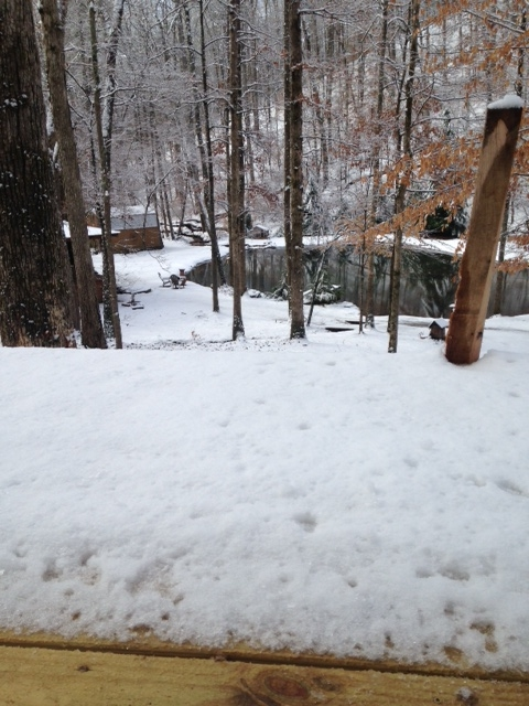 View from the deck after a little snowfall.