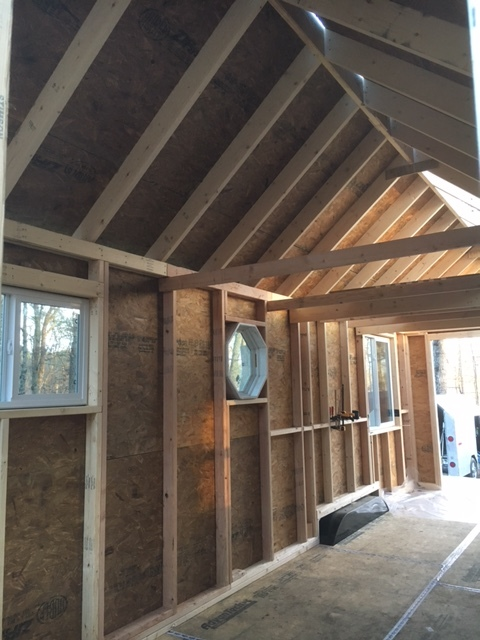 An interior view after we started sheathing the roof.