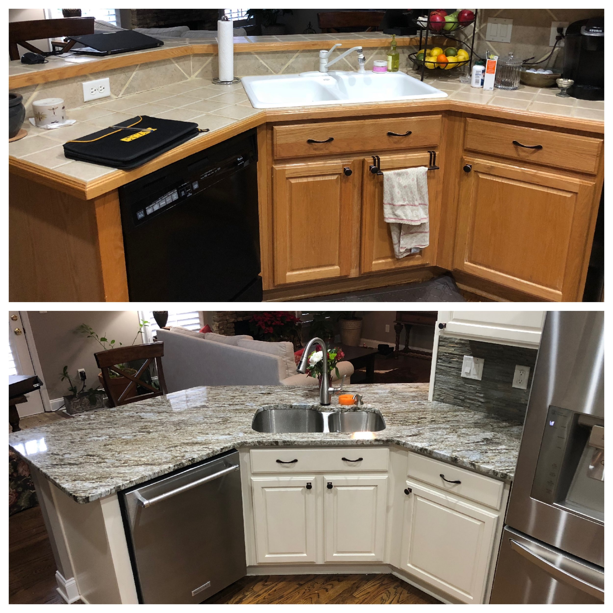 A before/after of a recent kitchen renovation. Refinishing existing cabinets can save you thousands of dollars. We added a new countertop, appliances, a stone backsplash, sink, and a faucet that only requires a touch to activate! It works on a battery operated sensor located under the sink cabinet.
