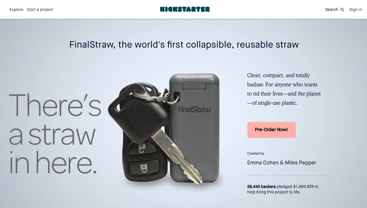 Screenshot of Final Straw's Kickstarter campaign.