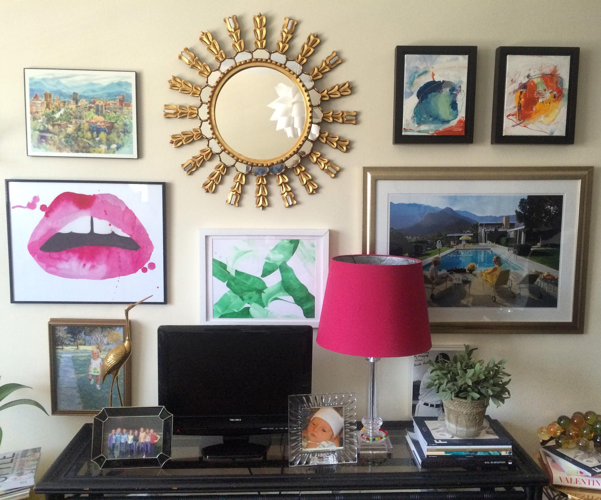 Gallery Wall Slim Aarons The Aestate One Kings Lane Sunburst Mirror Taylor O Thomas Art Lips Print Palm Leaf Print