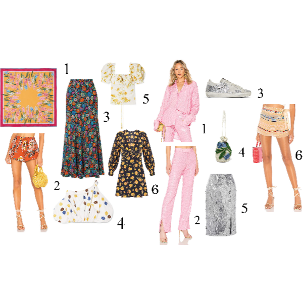 Florals:  1.  Dolce & Gabbana Floral Print Silk Scarf  2.  Tularose Floral Print Short   3.  Etro Floral-Print Maxi Skirt  4.Dying over the nostalgia this   Silvia Tcherassi Off-the-shoulder floral strech cotton top   creates!  5.And this one by   Brock Collection  .   All Over Bling:  1.  MSGM Sequin Top   2.   MSGM Sequin Pant   (SO good!)  3. Sequin Tennis Shoe--Everbody's favorite:   Golden Goose SuperStar Sneaker  4.  Ganni Orsay Embellished Chiffon Pouch  5.  Erdem Sequined Georgette Skirt    6.  Tularosa Sequined Skort