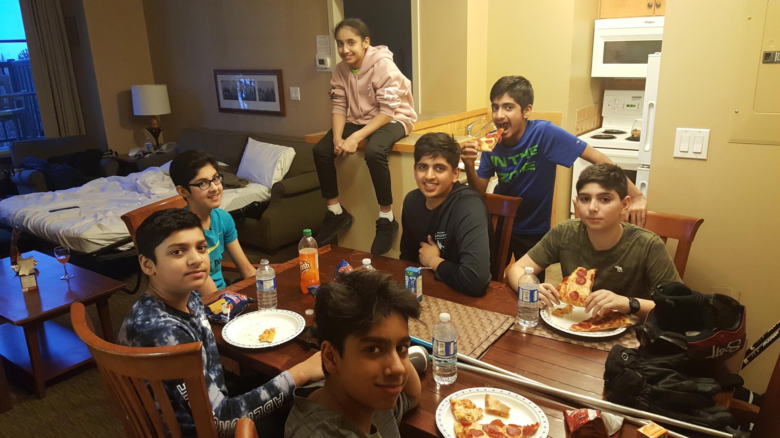Grade 8 Boys getting their 'za on!