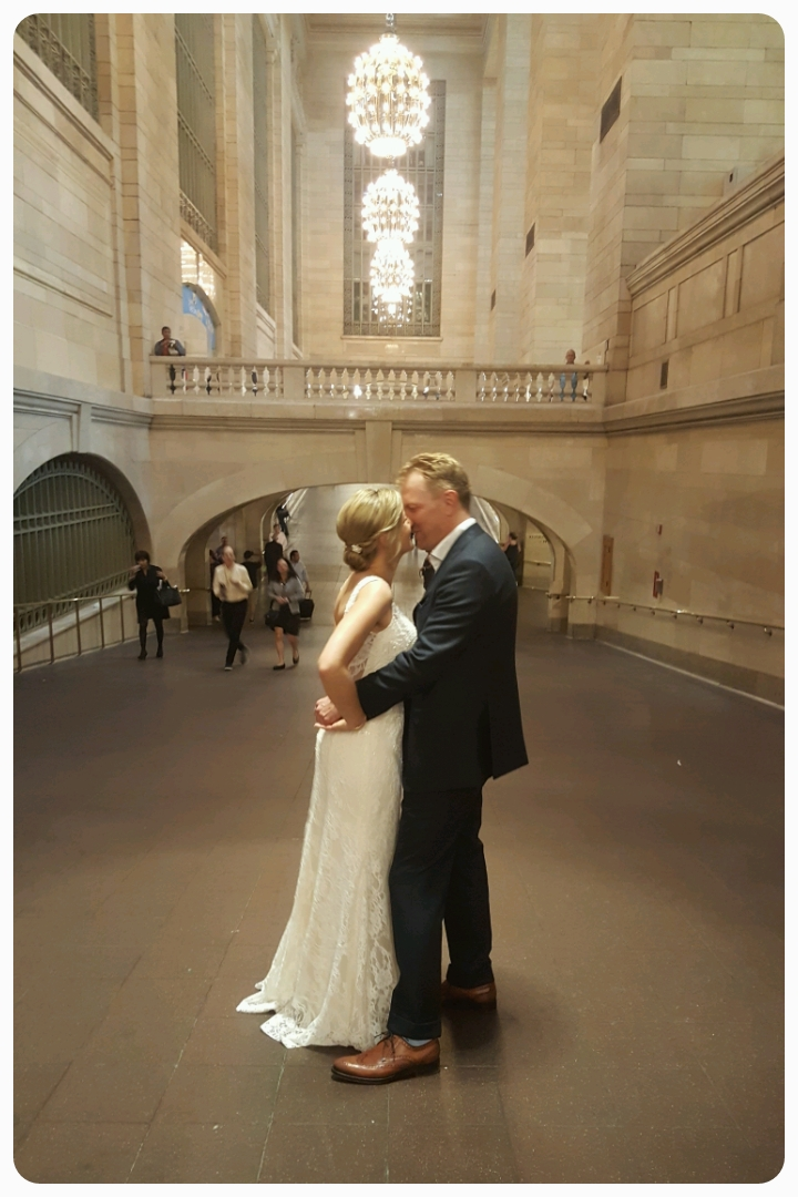 Apparently, something related to a wedding was going on, but there was ONLY the Bride and Groom. No wedding party or guests. No photographer. Just a happy couple at Grand Central Terminal. Any theories as to what was going here?