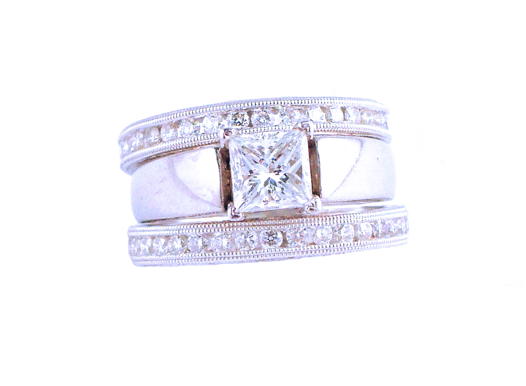 Princess-Cut Solitaire Diamond Engagement Ring with Matching Diamond Eternity Bands