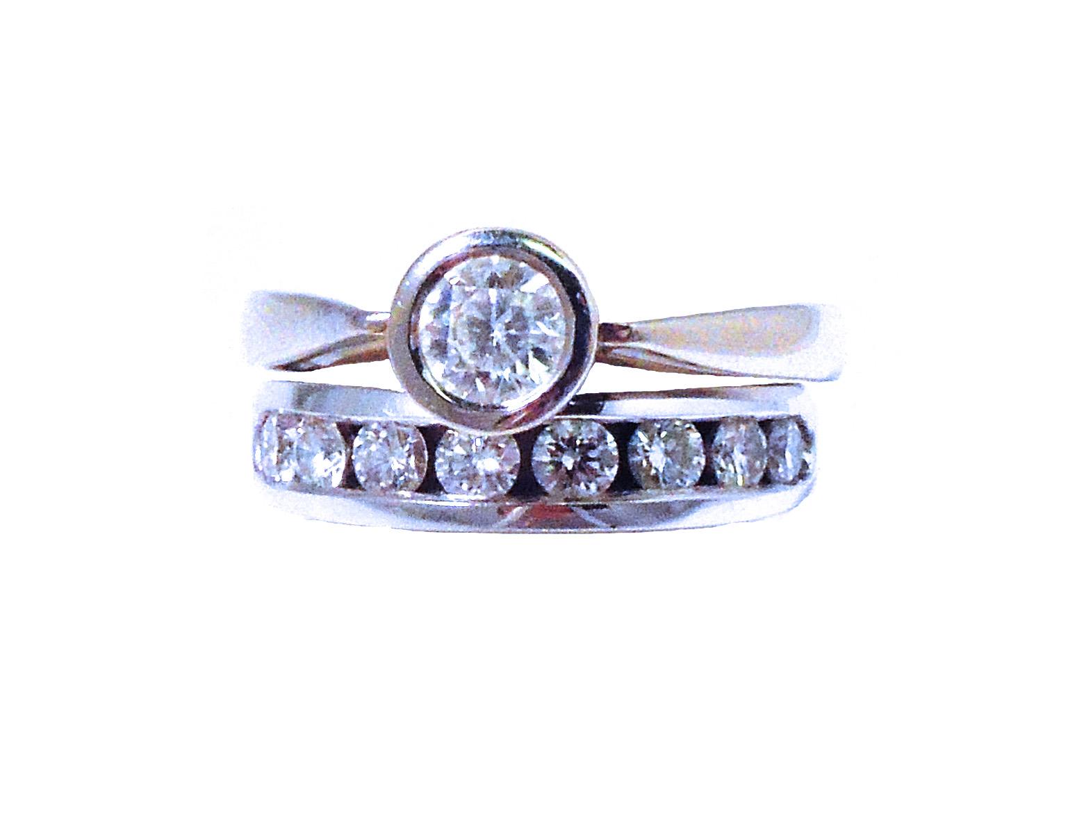14K 0.41ct Bezel-Set Solitaire Diamond Ring with Channel-Set Diamond Wedding Band