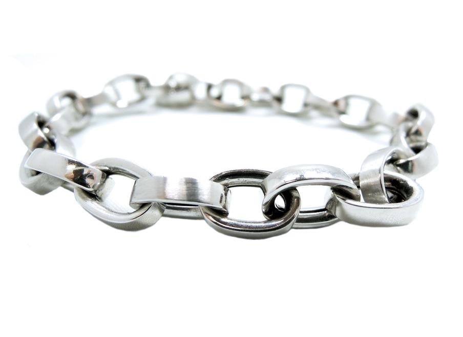 14K White Gold Cable Link Bracelet