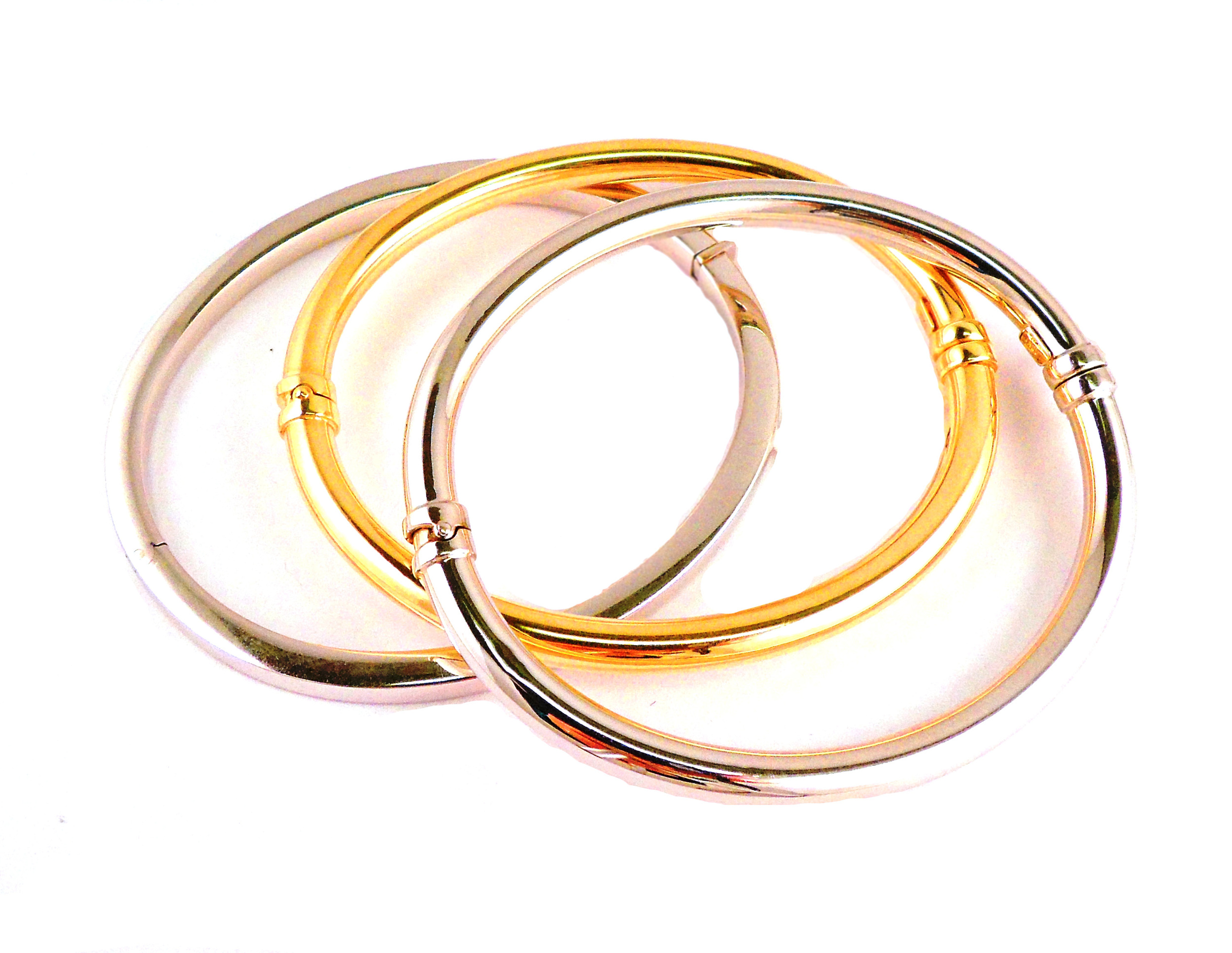 Yellow and White Gold Bangles