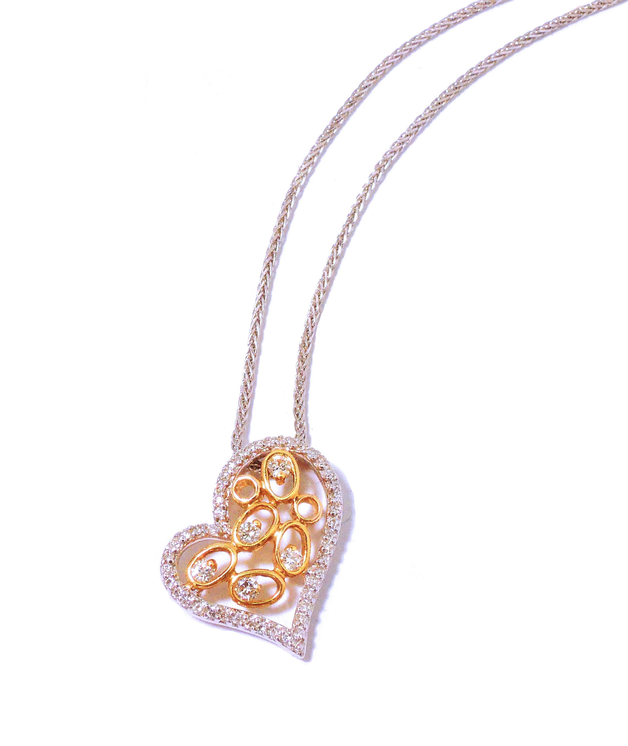 Two-Tone Gold & Diamond Heart Pendant