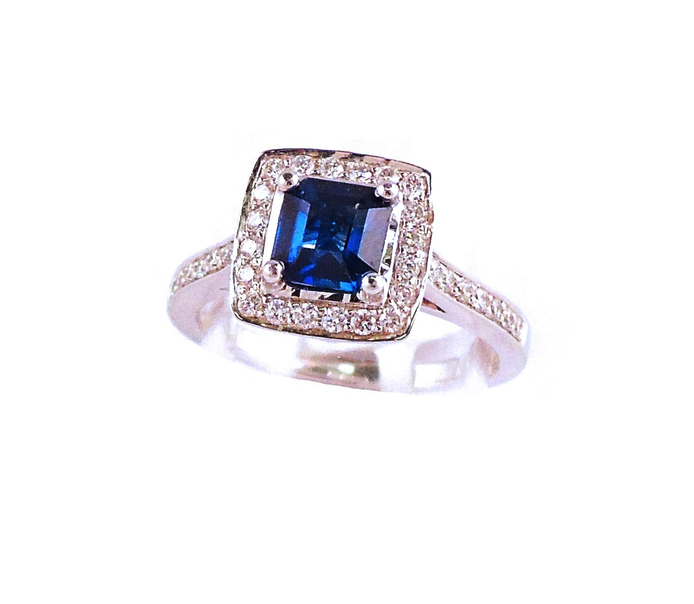 0.98ct Blue Sapphire & Diamond Ring