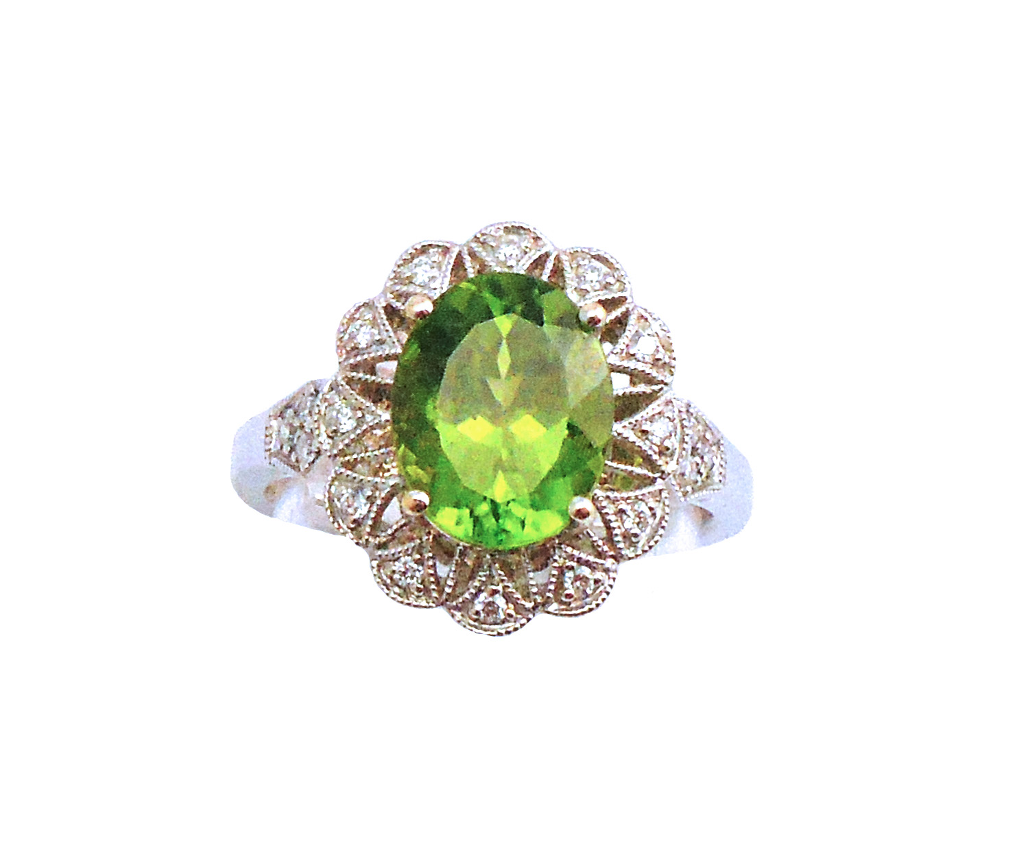 18K White Gold Peridot and Diamond Ring