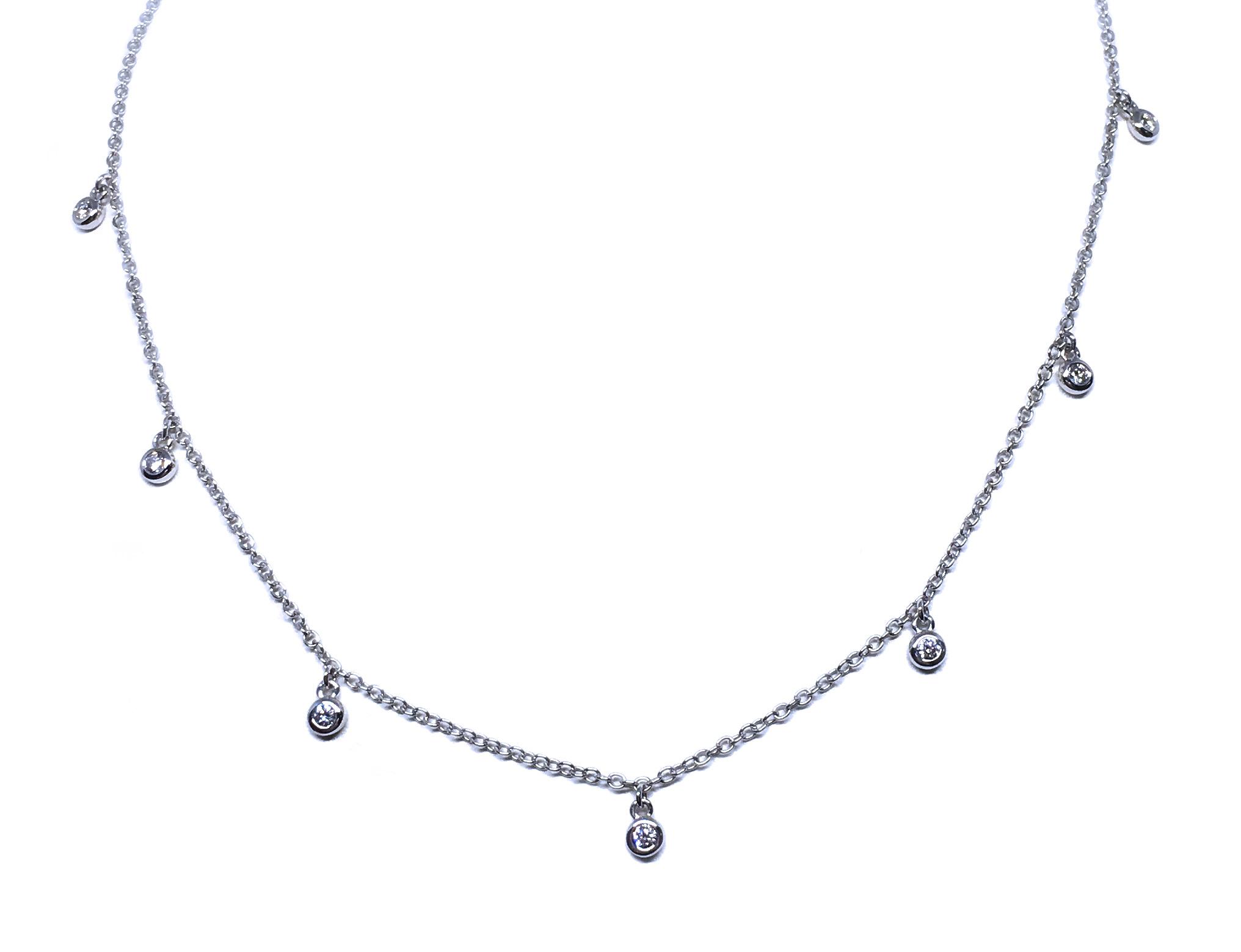14K White Gold Diamond Drops Necklace